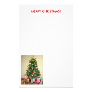 Christmas Tree & Packages,  MERRY CHRISTMAS! Personalized Stationery