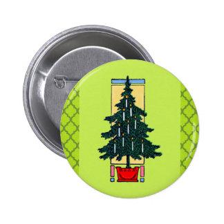 Christmas Tree Painting 6 Cm Round Badge