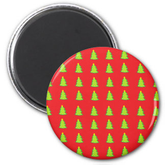 Christmas Tree Pattern 6 Cm Round Magnet