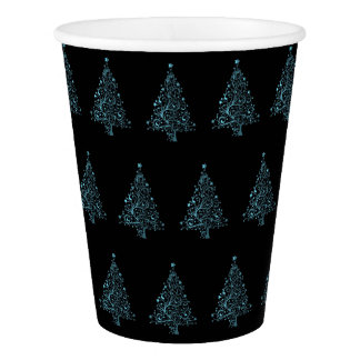 Christmas Tree Pattern Blue Black Elegant Paper Cup