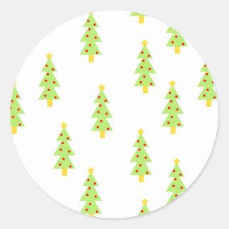 christmas tree pattern mid century modern vintage round sticker