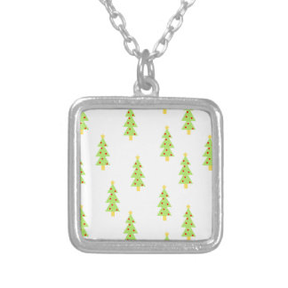 christmas tree pattern mid century modern vintage silver plated necklace