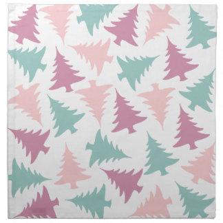 Christmas tree pattern pastel pink purple green napkin