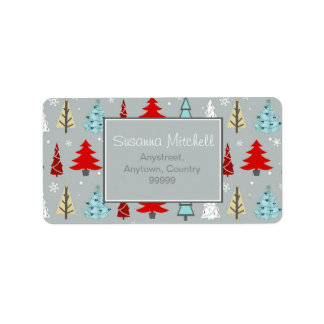 Christmas Tree Pattern Red and Blue ID175 Address Label