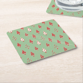 Christmas Tree Pattern Square Paper Coaster