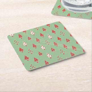 Christmas Tree Pattern Square Paper Coaster