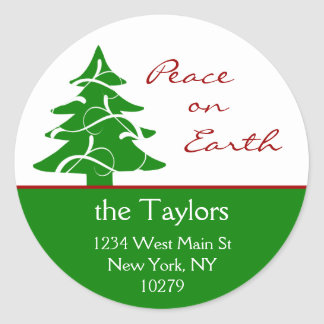 Christmas Tree Peace on Earth Address Labels Round Sticker