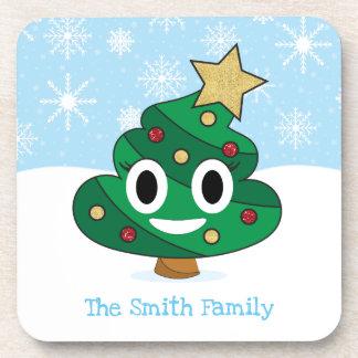 Christmas Tree Poop Emoji Coaster Set of 6