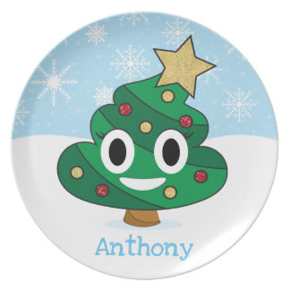 Christmas Tree Poop Emoji Kids Plate