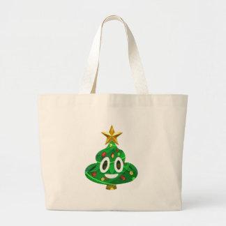 Christmas Tree Poop Emoji Large Tote Bag