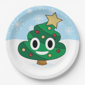 Christmas Tree Poop Emoji Party Plates