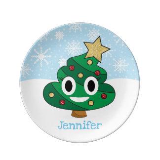 Christmas Tree Poop Emoji Porcelain Plate