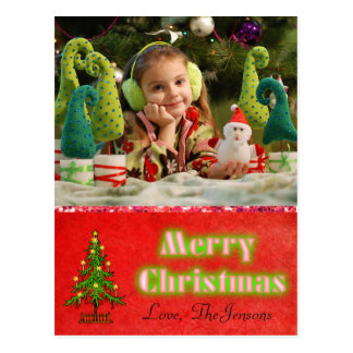 Christmas Tree  Postcard Personalised Red