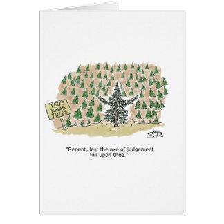 Christmas tree preacher greeting card