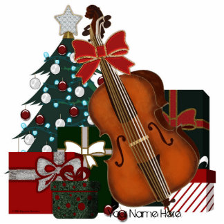Christmas Tree Presents and Bass Viol Graphic Standing Photo Sculpture