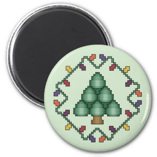 Christmas Tree Quilt Square Cross Stitch Pattern 6 Cm Round Magnet