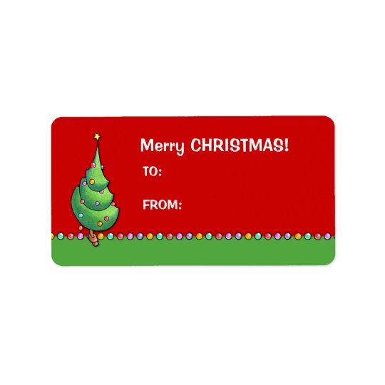 Christmas Tree red2 Gift Tag Label