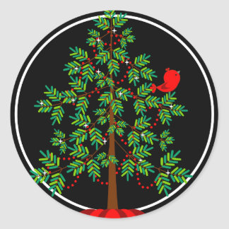 Christmas Tree Red Bird Round Sticker