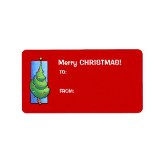 Christmas Tree red Gift Tag Label Address Label