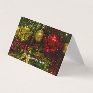 Christmas Tree Red & Gold Christmas Tent Card