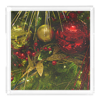 Christmas Tree Red & Gold Ornaments Serving Tray