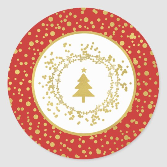 Christmas Tree Red & White Holiday Classic Round Sticker