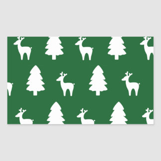 Christmas tree Reindeer green white Rectangle Sticker