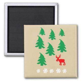 Christmas tree, reindeer, snowflake magnet