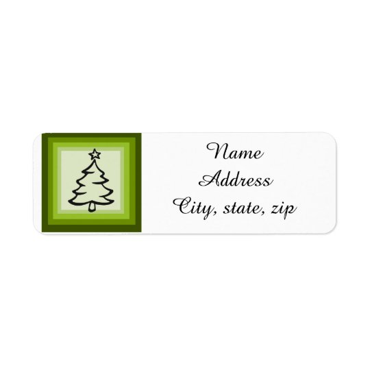 Christmas tree return address labels customisable