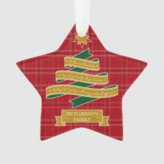Christmas Tree Ribbon Red Plaid Star Custom Banner