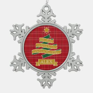 Christmas Tree Ribbon Red Plaid Star Custom Banner Pewter Snowflake Decoration