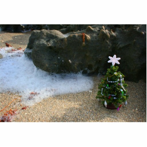 Christmas Tree Right Side Waves Rocks Photo Cutouts