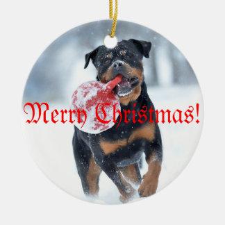 Christmas tree Rottweiler Ceramic Ornament