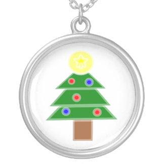 Christmas Tree Round Pendant Necklace