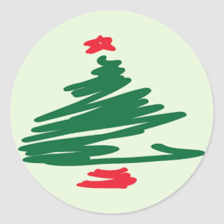 Christmas Tree Round Sticker