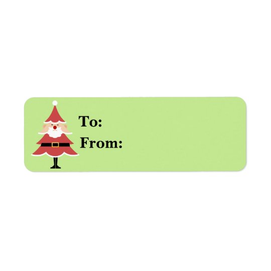 Christmas Tree Santa Gift Lables Return Address Label