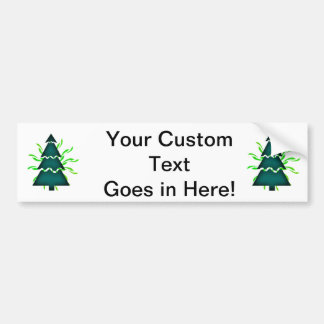 Christmas tree sectional with yellow waves teal.pn car bumper sticker