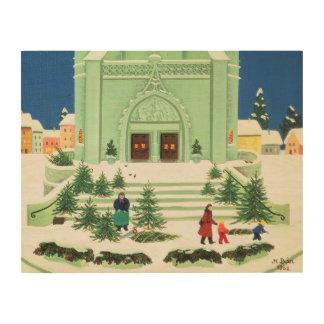 Christmas Tree Selling 1988 Wood Print