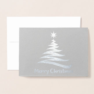 Christmas Tree Shape -  Silver Foil Greeting Card