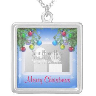 Christmas Tree Shine on Blue photo frame Necklaces