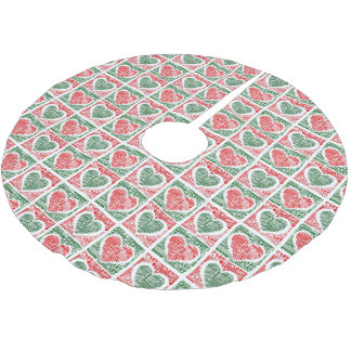 Christmas Tree Skirt Red Green Hearts Let It Snow