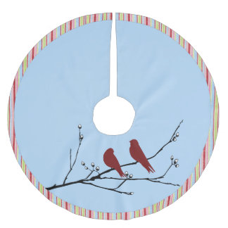 Christmas Tree Skirt with Birds on Branch