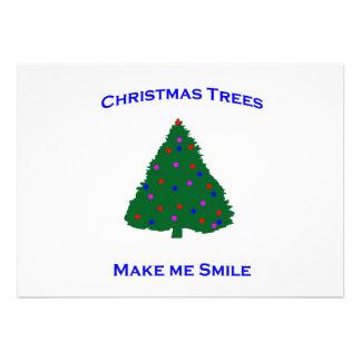 Christmas Tree Smiles Custom Invitations