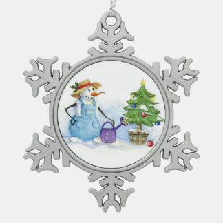 Christmas tree snoman gardener snowflake pewter christmas ornament