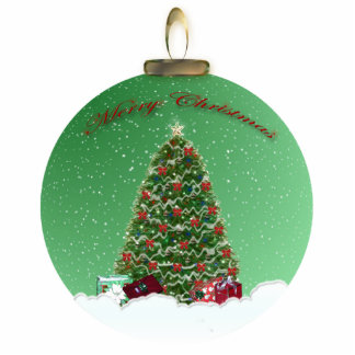 Christmas Tree Snow Globe Ornament Photo Sculpture Decoration