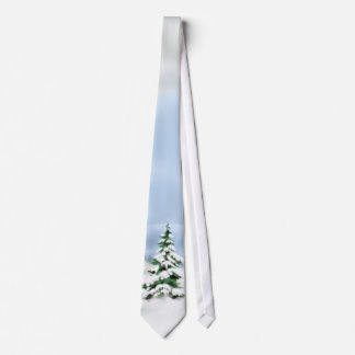 Christmas tree snow scene tie