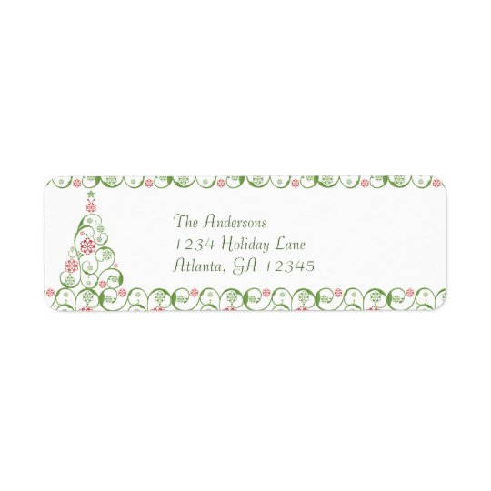Christmas Tree Snowflake Swirl Christmas Return Return Address Label