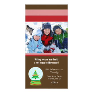 Christmas Tree Snowglobe Custom Holiday Photocard Customised Photo Card