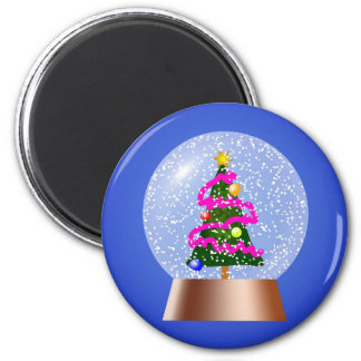 Christmas Tree Snowglobe Draped in Pink Tinsel 6 Cm Round Magnet