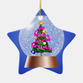 Christmas Tree Snowglobe Draped in Pink Tinsel Ceramic Star Decoration